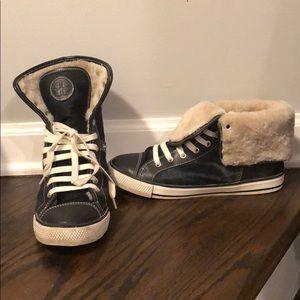 "Tory Burch ""Benjamin"" Navy Calf/leather sneakers"